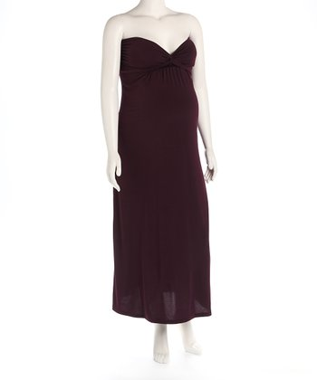Eggplant Knot Front Maternity Evening Gown