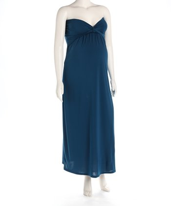 Teal Knot Front Maternity Evening Gown