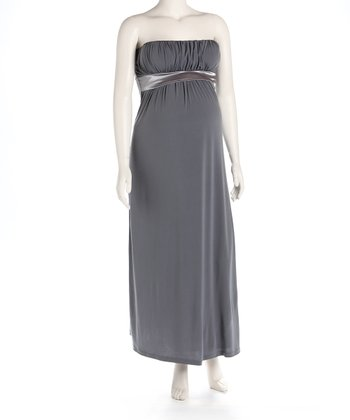 Gray Maternity Evening Gown