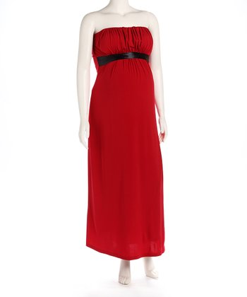 Red Maternity Evening Gown