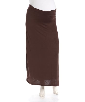 Brown Maternity Maxi Skirt