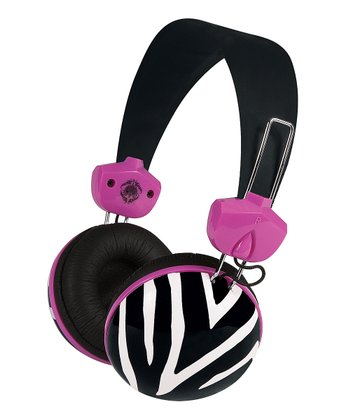 Black & Hot Pink Zebra Headphones