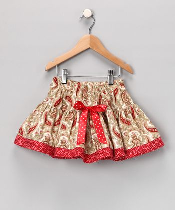 Red Paisley Ribbon Skirt - Infant, Toddler & Girls