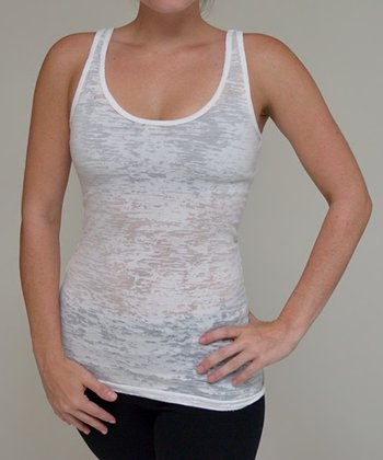White Burnout Tank - Women