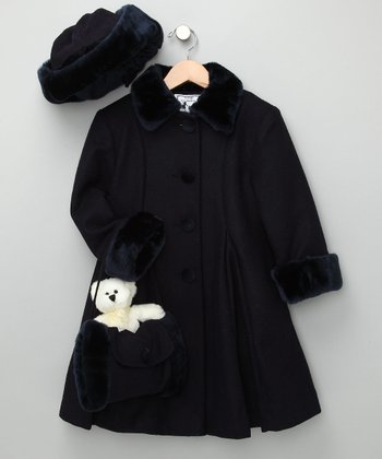 Navy Swing Coat with Faux Fur - Toddler & Girls