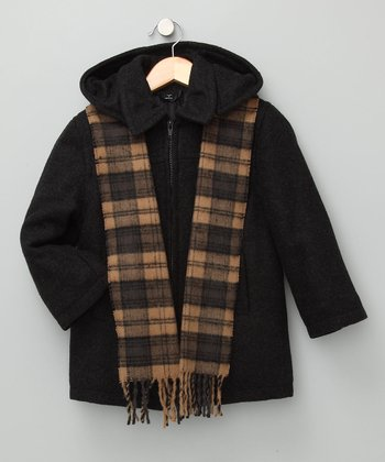 Charcoal Wool-Blend Zip-Up Coat & Scarf - Toddler & Boys