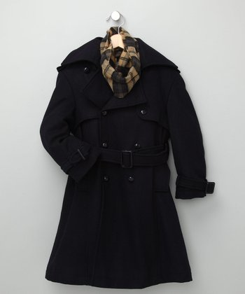 Navy Wool-Blend Trench Coat & Scarf - Toddler & Boys