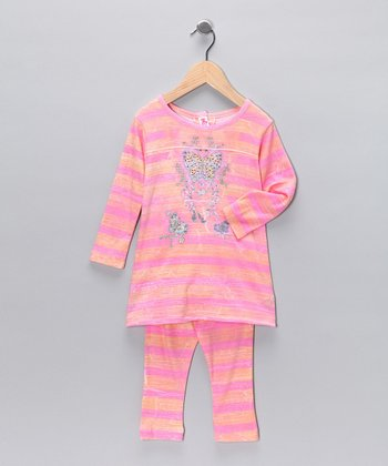 Pink & Orange Butterfly Rainbow Tunic & Leggings - Infant