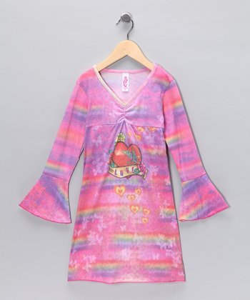 Pink Rainbow Heart Tunic - Girls