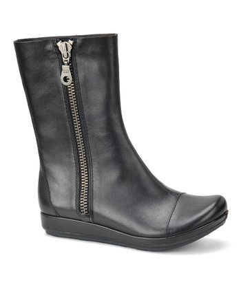 Black Bardot Leather Boot