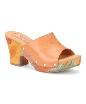 Orange Helen Leather Slide