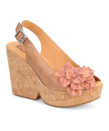 Cream Colleen Leather Wedge