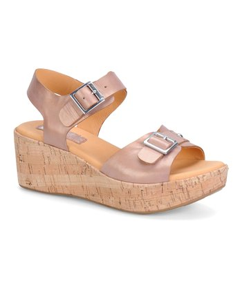 Caramel Pearlized Anna Leather Wedge