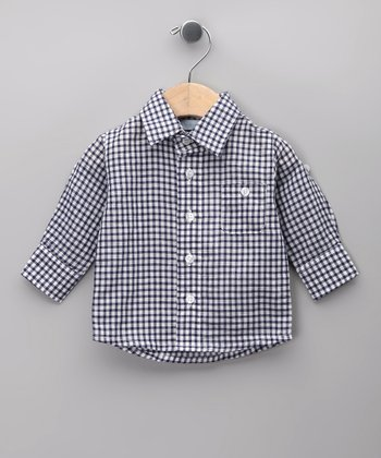 Azul Checkerboard Linen-Blend Button-Up - Infant