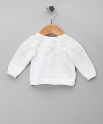 Blanco & Gris Pointelle Cardigan - Infant