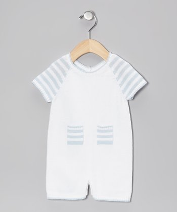 Blanco & Celeste Stripe Pocket Romper - Infant