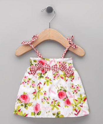 Blanco & Rosa Floral Bow Dress - Infant