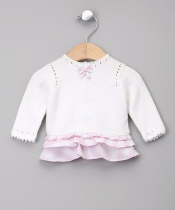Blanco & Lila Bow Ruffle Dress - Infant
