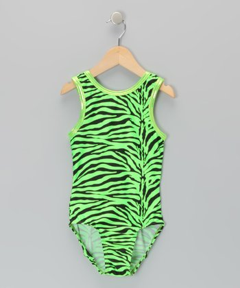 Green Zebra Leotard - Girls