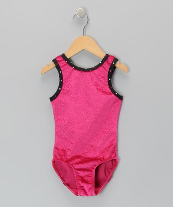 Raspberry Glitter Velvet Leotard - Girls