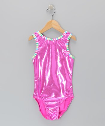 Fuchsia Foil Leotard - Girls