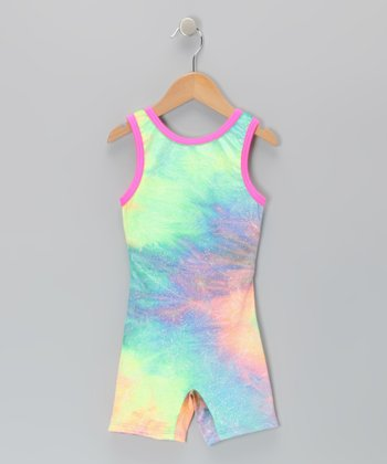 Pastel Rainbow Glitter Tie-Dye Biketard - Toddler & Girls