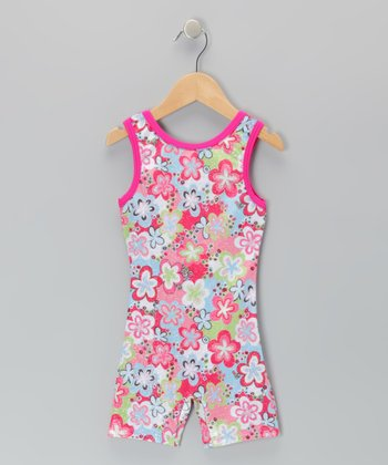 Fuchsia Floral Velvet Biketard - Toddler & Girls