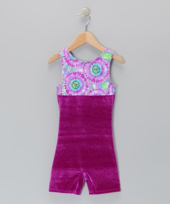 Purple Peace Sign Tie-Dye Velvet Biketard - Girls