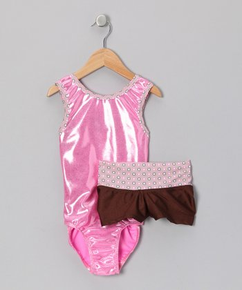 Pink & Brown Queenie Leotard & Shorts - Girls