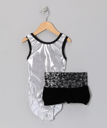 Silver & Black Butterfly Foil Leotard & Shorts - Girls