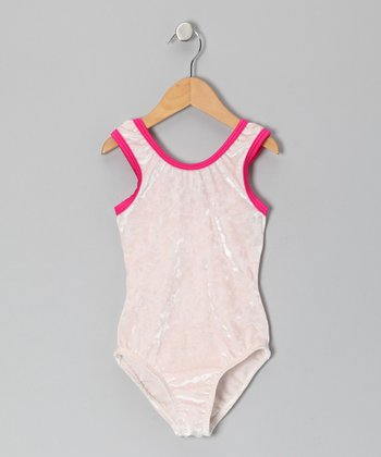 Crushed Cream & Hot Pink Velvet Leotard - Girls