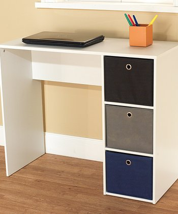 Blue & White Student Writing Desk & Bin Set