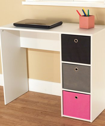 Pink & White Student Writing Desk & Bin Set