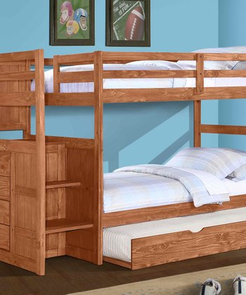 Cinnamon Ranch Stair Step Trundle Bunk Bed