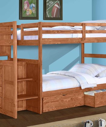 Cinnamon Ranch Stair Step Double-Drawer Bunk Bed