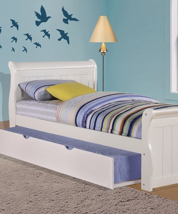 White Sleigh Bed & Trundle Bed