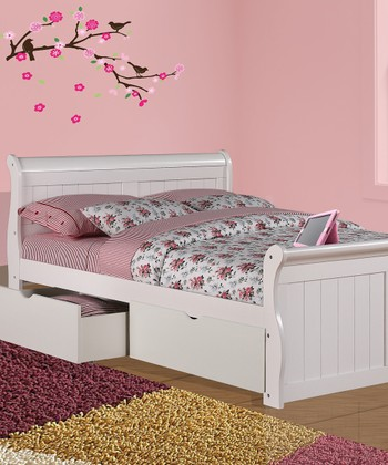 White Full Sleigh Bed & Under Bed Drawer Set