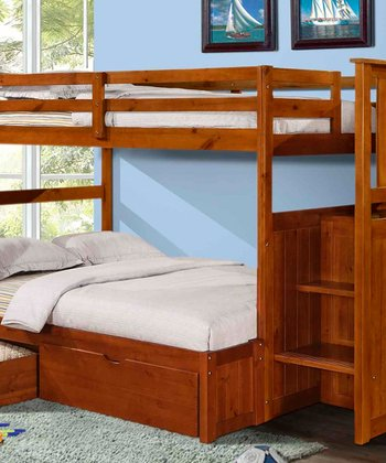 Light Espresso Mission Stairway Double-Drawer Bunk Bed