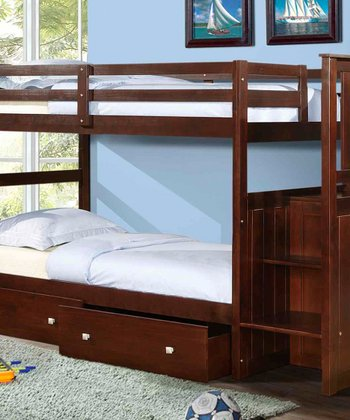 Cappuccino Mission Stairway Double-Drawer Bunk Bed