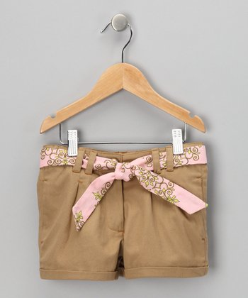 Tan & Pink Belted Shorts - Girls