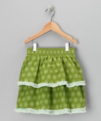 Green Daisy Tiered Ruffle Skirt - Girls