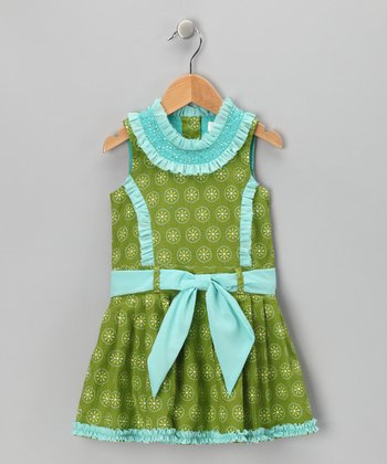 Green Daisy Princess Dress - Toddler