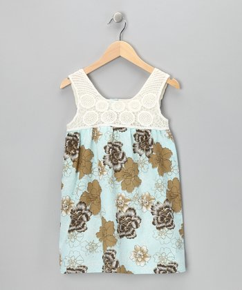 Blue Floral Crocheted Dress - Girls