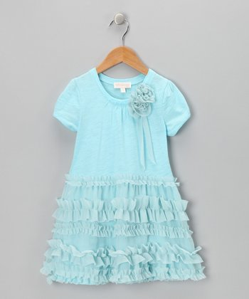 Blue Ruffle Dress - Toddler & Girls