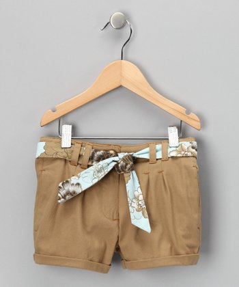 Tan & Blue Belted Shorts - Girls