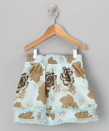 Blue Floral Tiered Skirt - Toddler & Girls