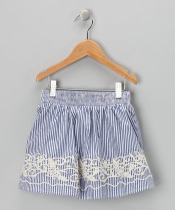 Blue Stripe Embroidered Skirt - Toddler & Girls