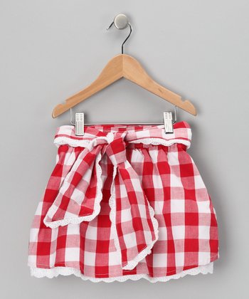 Red & White Gingham Belted Skirt - Toddler & Girls