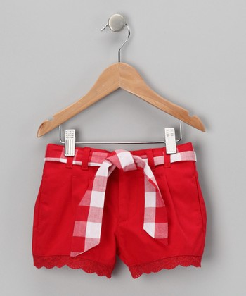 Red Denim Shorts & Plaid Sash - Toddler & Girls