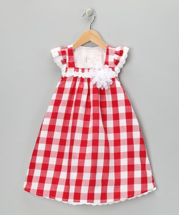 Red & White Gingham Ruffle Swing Dress - Infant
